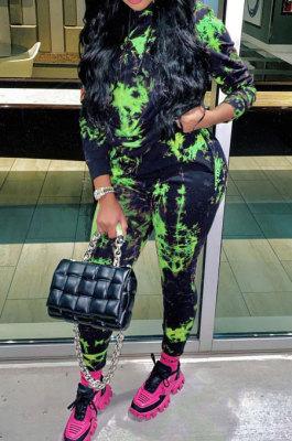 Green Cotton Blend Simple Tie Dye Printing Long Sleeve Hoodie Trousers Sport Sets TC046-3