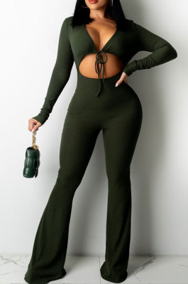 Green Sexy Club Ribber Long Sleeve Cardigan Strapless Hollow Out Flare Jumpsuits QZ6129-1