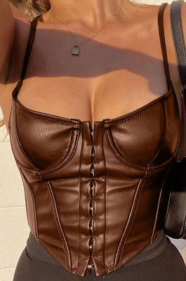 Brown Sports PU Leather Vest Slim Condole Belt Sexy Top HLR00976-3