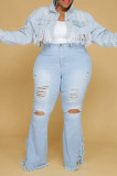 Distressed Slightly Stretchy Plus Size Jeans in Light Blue