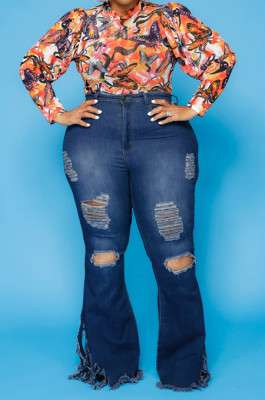 Distressed Slightly Stretchy Plus Size Jeans in Dark Blue