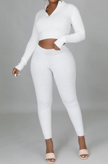 White Euramerican Women Solid Color Ribber High Collar Zipper Sexy High Elastic Bodycon Pants Sets QQM4333-2