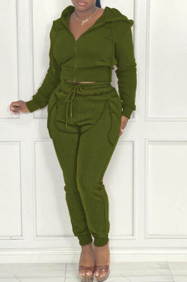 Army Green Women Hooded Zipper Pure Color Casual Pants Sets QHH8666-4