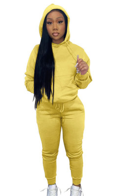 Yellow Women Autumn Winter Pure Color Hooded Fleece Pullover Casual Pants Sets Q972-2