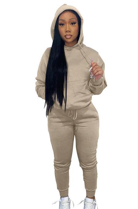 Khaki Women Autumn Winter Pure Color Hooded Fleece Pullover Casual Pants Sets Q972-5