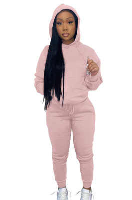 Pink Women Autumn Winter Pure Color Hooded Fleece Pullover Casual Pants Sets Q972-1