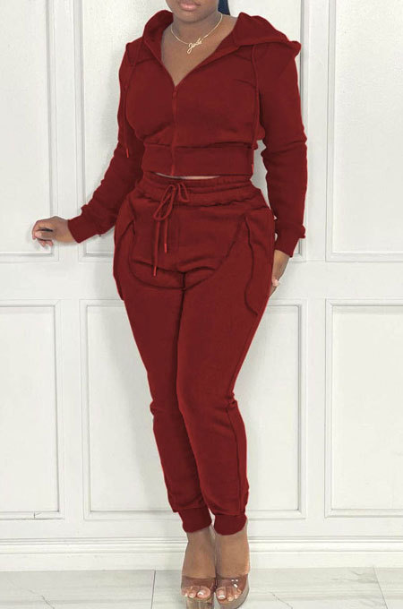 Wine Red Women Hooded Zipper Pure Color Casual Pants Sets QHH8666-3