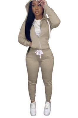 Khaki Euramerican Women Pure Color Skinny Drawstring Cradigan Hooded Fleece Bodycon Pants Sets XQ1152-6