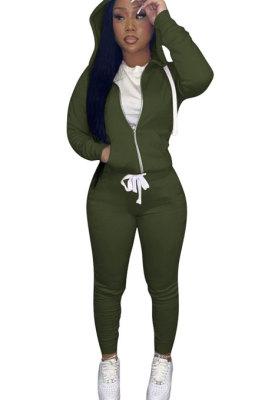 Army Green Euramerican Women Pure Color Skinny Drawstring Cradigan Hooded Fleece Bodycon Pants Sets XQ1152-10