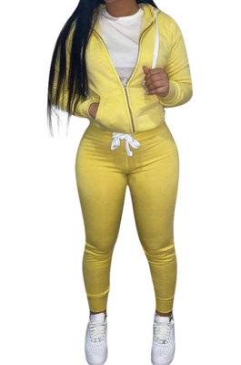 Yellow Euramerican Women Pure Color Skinny Drawstring Cradigan Hooded Fleece Bodycon Pants Sets XQ1152-2