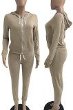 Orange Euramerican Women Pure Color Skinny Drawstring Cradigan Hooded Fleece Bodycon Pants Sets XQ1152-3