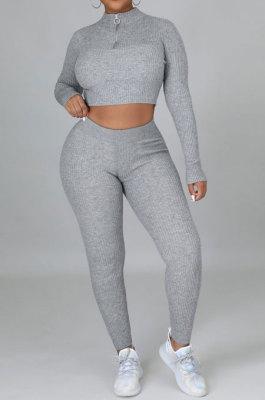 Gray Euramerican Women Solid Color Ribber High Collar Zipper Sexy High Elastic Bodycon Pants Sets QQM4333-1