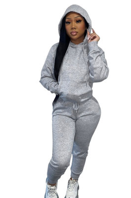 Gray Women Autumn Winter Pure Color Hooded Fleece Pullover Casual Pants Sets Q972-4