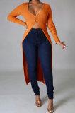 Orange Euramerican Women Solid Color Cardigan Button Ribber Irregular Coat Q970-3