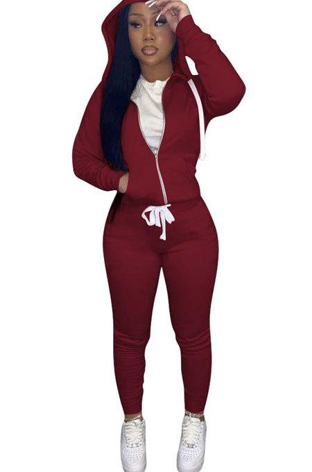 Wine Red Euramerican Women Pure Color Skinny Drawstring Cradigan Hooded Fleece Bodycon Pants Sets XQ1152-8