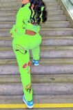 Apple Green Women Trendy Hooded Fleece Pullover Positioning Printing Pats Sets LSZ91188-2