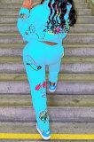 Sky Blue Women Trendy Hooded Fleece Pullover Positioning Printing Pats Sets LSZ91188-3