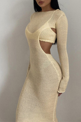 Knitted Open Back Long Dress in Apricot