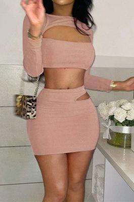 Pink Women Korea Velvet Sexy Fashion Hollow Out Dew Waist Skirts Sets QMX1014-1