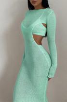 Knitted Open Back Long Dress in Green