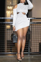 White Women Long Sleeve Sexy Solid Color Single Strap Dew Waist Hollow Out Mini Dress QMX1018-1