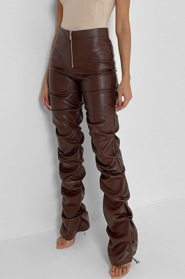 Pu Material Ruffle Details Botton Drawstring Pants in Brown