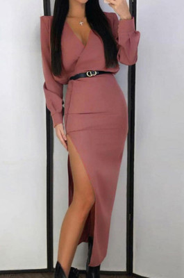 Two Layer Plunge Neck Split Side Long Dress in Lotus Red