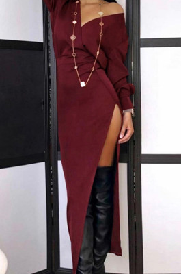 Two Layer Plunge Neck Split Side Long Dress in Wine Red