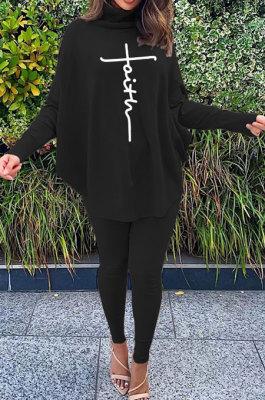 Black Women Fashion Casual Letters Printing Batwing Sleeve Split Split Ribber Pants Sets MR2126-4