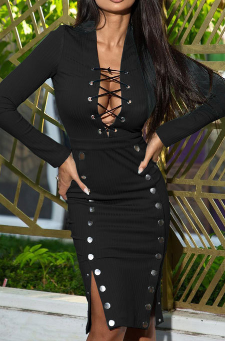 Black Autumn Winter Sexy Ribber Long Sleeve Bandage Double-Breasted Bodycon Slit Dress HHM6530-3