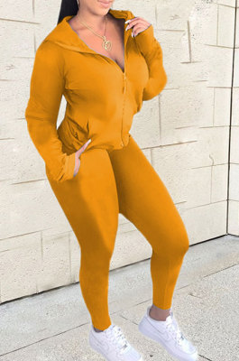 Earth Yellow Euramerican Women Zipper Hooded Fashion Sport Pure Color Long Sleeve Pants Sets XT8888-5