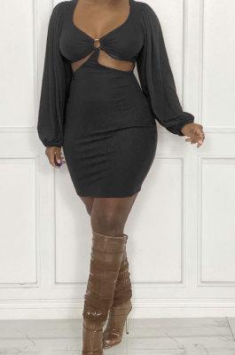 Black Sexy Fashion Dew Waist Strapless V Collar Solid Color Mini Dress QMX1020 -1