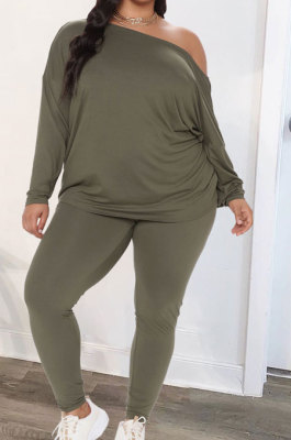 Army Green Euramerican New Positive And Negative Two Wear Loose Deep V Neck Tops Pencil Pants Fat Women Sets CYY00037-3