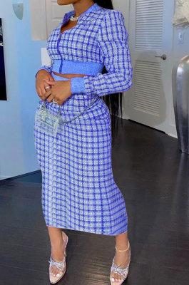 Dark Blue Women Digital Printing Ribber Long Sleeve Zipper Hip Skirts Sets YLY2666-5