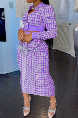Purple Women Digital Printing Ribber Long Sleeve Zipper Hip Skirts Sets YLY2666-3