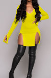 Yellow Night Club Pure Color Long Sleeve V Neck Collect Waist Double Side Slit Dress LWW9305-2