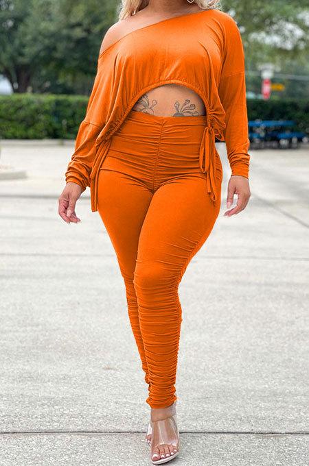Orange Wholesale Casual Long Sleeve Oblique Shoulder Loose Tops High Waist Ruffle Bodycon Pants Solid Color Sets QSS51051-5
