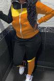 Orange Black Winter Mulitucolor Spliced Long Sleeve Zip Front Hoodie Trousers Sports Sets LMM8290-1