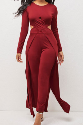 Red Modest New Women Long Sleeve Round Neck Cross Hollow Out Cape Tops Bodycon Trousers Solid Color Sets LWW9323-2