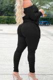 Black Wholesale Casual Long Sleeve Oblique Shoulder Loose Tops High Waist Ruffle Bodycon Pants Solid Color Sets QSS51051-2
