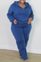 Blue New Big Yards Long Sleeve Zip Front Coat Trousers Solid Color Sports Sets HG150-5