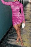 Pink Sexy Irregularity Printing Long Sleeve High Neck Bodycon Hip Dress SDE22116-1