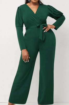 Green Wholesale Cotton Blend Pure Color Long Sleeve V Neck Collect Waist Wide Leg Jumpsuits LWW9322-3