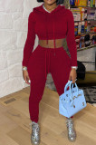 Purplish Red Casual Winter Pure Color Long Sleeve Hoodie Trousers Sports Sets LMM8286-1