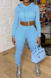 Light Blue Casual Winter Pure Color Long Sleeve Hoodie Trousers Sports Sets LMM8286-2