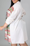 Blue White Color Matching Autumn Winter Simple Positioning Printing Long Sleeve Loose Shirt Dress LWW9321-2
