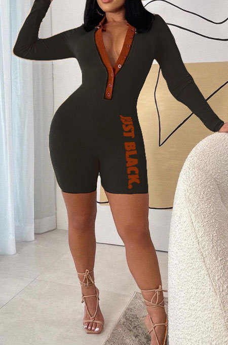 Black Fashion Ribber Letter Printing Long Sleeve Notched Neck Collect Waist Bodycon Romper Shorts SDE29130-1
