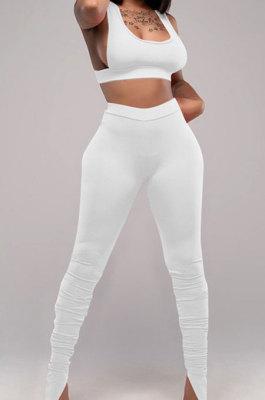 White Sports Solid Color Strapless Split Skinng Pants Yoga Sets ZTD010-2