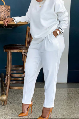 White Cotton Blend Sleeve Opening Letter Embroid Loose Tops Trousers Plain Color Casual Sets BBN209-2