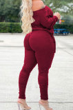 Army Green Wholesale Casual Long Sleeve Oblique Shoulder Loose Tops High Waist Ruffle Bodycon Pants Solid Color Sets QSS51051-1